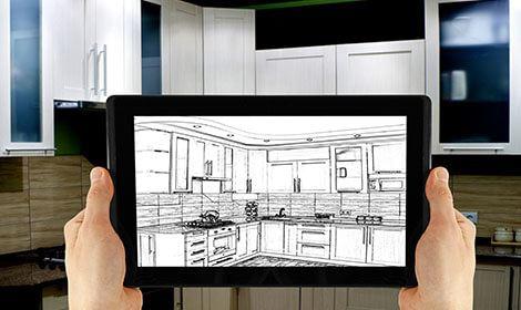 Tablet met 3d-tekening nieuwe keuken.